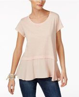 Style&Co. Style & Co Layered-Look Peplum T-Shirt, Only at Macy's