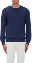 Barneys New York Men's Mélange Alpaca-Cotton Raglan Sweater-BLUE