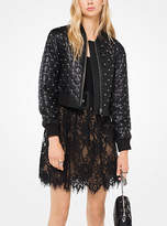 Michael Kors Studded Quilted-Leather Bomber Jacket