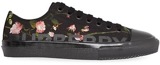 Burberry Larkhall Rose-Print Canvas Sneakers