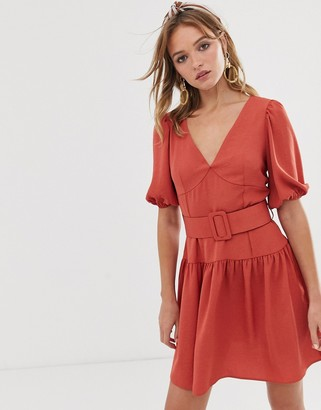 Asos Design DESIGN belted mini tea dress with puff sleeve-Red