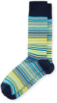Neiman Marcus Striped Mercerized Crew Socks
