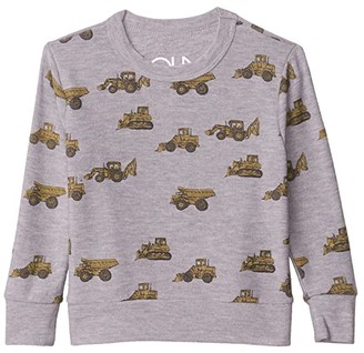 Chaser Tractor Toss Cozy Knit Crew Neck Pullover Sweater (Toddler/Little Kids) (Heather Grey) Boy's Clothing