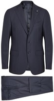 Lardini Navy Stretch Wool Suit