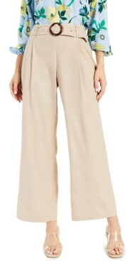 INC International Concepts I.n.c. Petite Belted Pleated Wide-Leg Pants, Created for Macy's