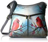 Anuschka Anna Handpainted Leather Large Hobo, Northern Cardinal, Ncd-Northern Cardinal