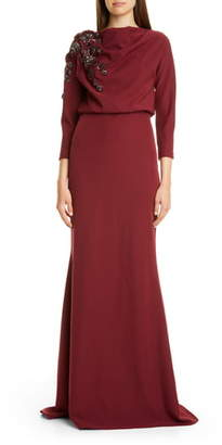 Badgley Mischka Couture Embellished Drape Bodice Gown
