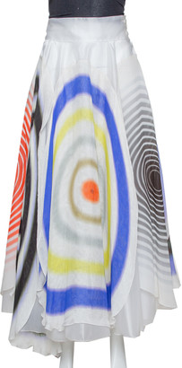 Fendi White Abstract Print Sheer Layered Maxi Skirt M