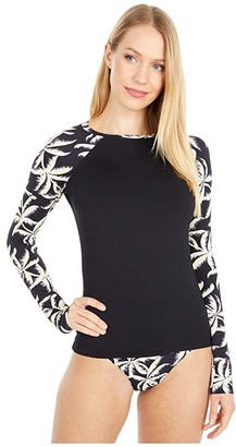 Billabong Palm Side Long Sleeve Rashguard (Black Pebble) Women's Swimwear