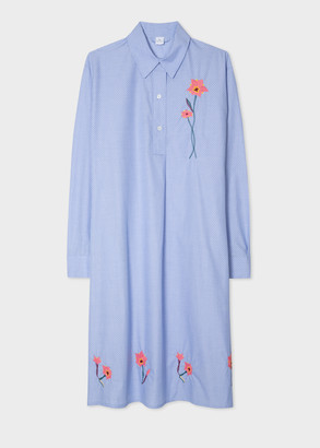 Paul Smith Women's Blue Polka Dot Shirt Dress With Embroidered Flower