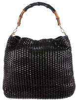 Gucci Bamboo Handle Woven Hobo w/ Shoulder Strap