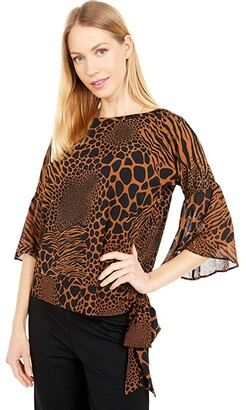MICHAEL Michael Kors Animal Combo Sleeve Top (Caramel) Women's Clothing
