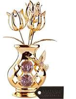 24K Gold Plated Crystal Studded Flower Ornament in a Vase with Decorative by Matashi®