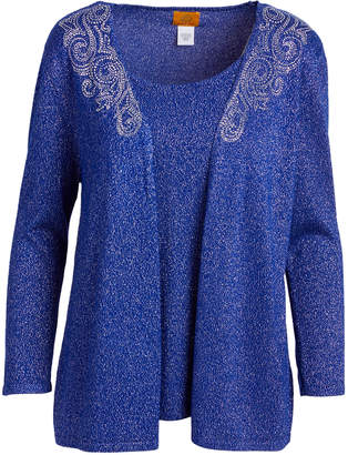 Ruby Rd. Women's Cardigans COBSILV - Cobalt Metallic Embellished Open Cardigan & Tank Top - Women
