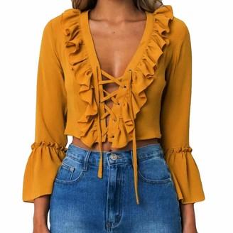 HOOUDO Womens Blouse Casual Fashion Sexy Chiffon Solid Long Sleeve Ruffles Top V-Neck Bandage T Shirt Blouse Tops(M
