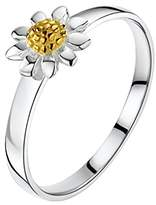 Jo for Girls Sterling Silver Daisy Ring with Brushed Gold Centre - Size E