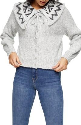 Topshop Fair Isle Collar Knit Cardigan