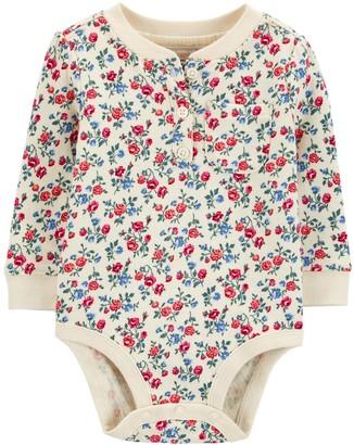 Osh Kosh Baby Girl Double-Knit Henley Bodysuit