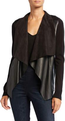 MICHAEL Michael Kors Draped Faux Leather Long-Sleeve Sweater