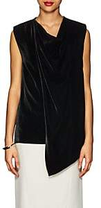 Derek Lam Women's Cowlneck Draped Velvet Sleeveless Top - Black