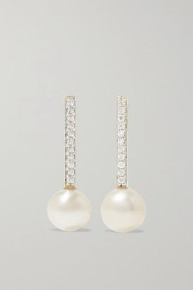 Mateo 14-karat Gold, Pearl And Diamond Earrings - one size