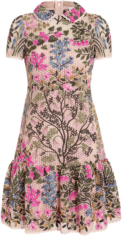 RED Valentino Floral Vines Macrame Shift Dress