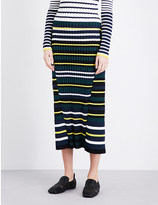 Pringle Striped ribbed-knit midi skirt