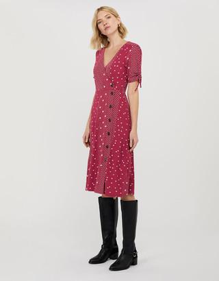 Under Armour Sarai Star Print Jersey Midi Dress Red