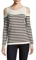 August Silk Striped Cold-Shoulder Pullover