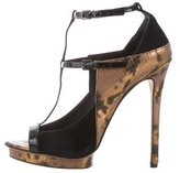 Brian Atwood Embossed T-Straps Sandals