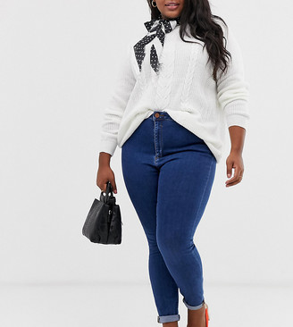 ASOS DESIGN Curve high rise ridley 'skinny' jeans in rich mid blue wash