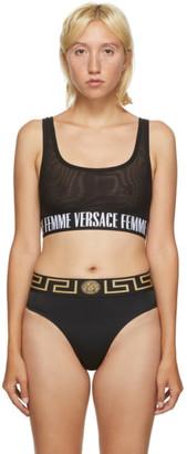 Versace Underwear Black Logo Band Bra