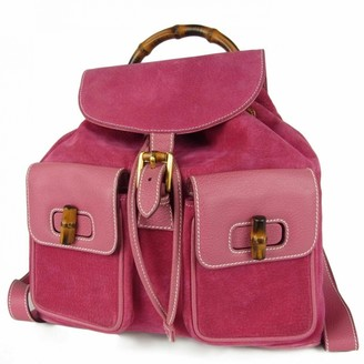 Gucci Pink Suede Backpacks