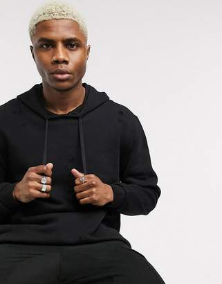 Asos Design DESIGN extreme oversized longline zip up hoodie with distressing in washed black