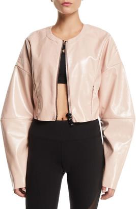 Alo Yoga Liquid Cropped Shiny Zip-Front Jacket