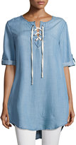 Velvet Heart Senna Lace-Up Blouse, Indigo-181