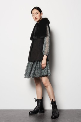 Karen Millen Sheepskin Reversible Oversized Collar Gilet