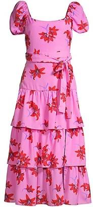 LIKELY Lottie Puff-Sleeve Floral Midi Dress