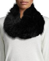 Adrienne Landau Fur Knit Cowl Scarf, White/Black