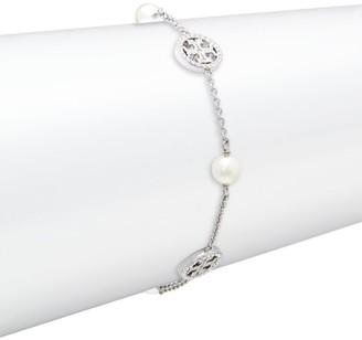 Tory Burch Crystal-Pearl Silvertone Logo Delicate Bracelet