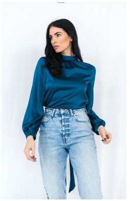 Haus Of Deck Backless Blue Wrap Blouse