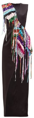 Germanier - Recycled Sequin-strand Satin Dress - Womens - Black Multi