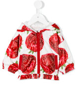 MonnaLisa strawberry print hooded jacket - kids - Polyester - 3 mth