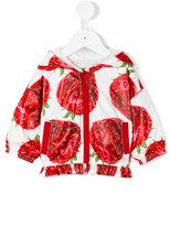MonnaLisa strawberry print hooded jacket - kids - Polyester - 9 mth