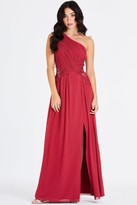 Little Mistress Nadja Red One Shoulder Maxi Dress With Lace