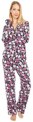 Kate Spade Modal Jersey Notch Collar Long Pajama Set (Painted Pansy) Women's Pajama Sets