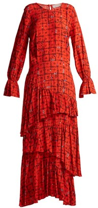Preen Line Amina Floral Print Tiered Dress - Womens - Red Print