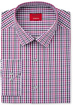 Alfani Men's Slim-Fit Stretch Berry Black Triple Gingham Dress Shirt, Created for Macy's