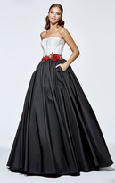 Tarik Ediz Two-Tone Taffeta Long Gown 93112