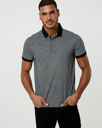 Le Château Geo Print Cotton Blend Polo Shirt